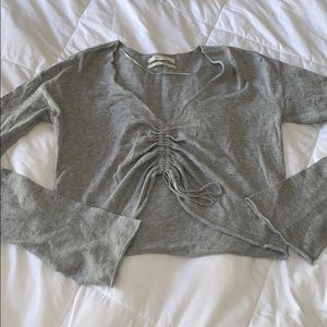Urban Outfitters Gray Cropped Knit Top